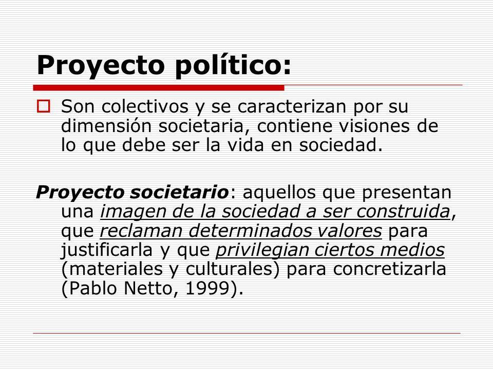Proyecto político: Son colectivos y se caracterizan por su dimensión societaria, contiene visiones de lo que debe ser la vida en sociedad.
