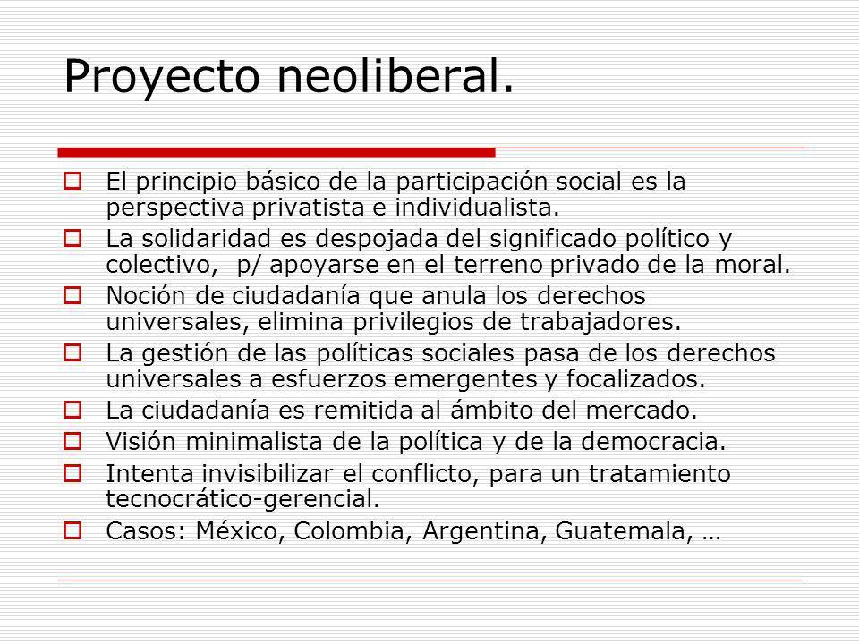 Proyecto neoliberal. El principio básico de la participación social es la perspectiva privatista e individualista.