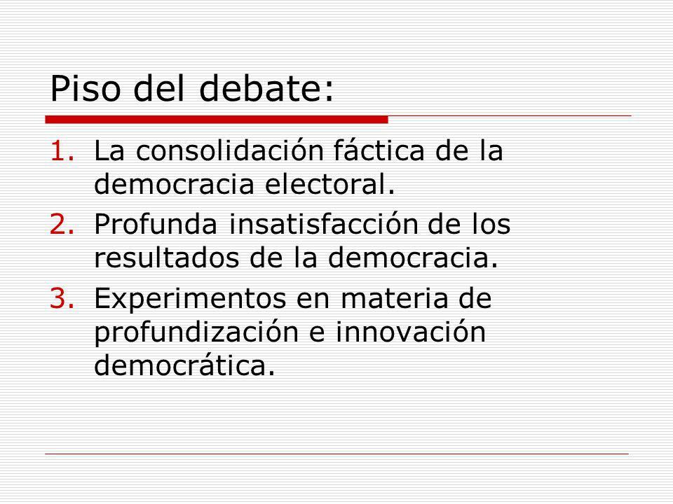 Piso del debate: La consolidación fáctica de la democracia electoral.