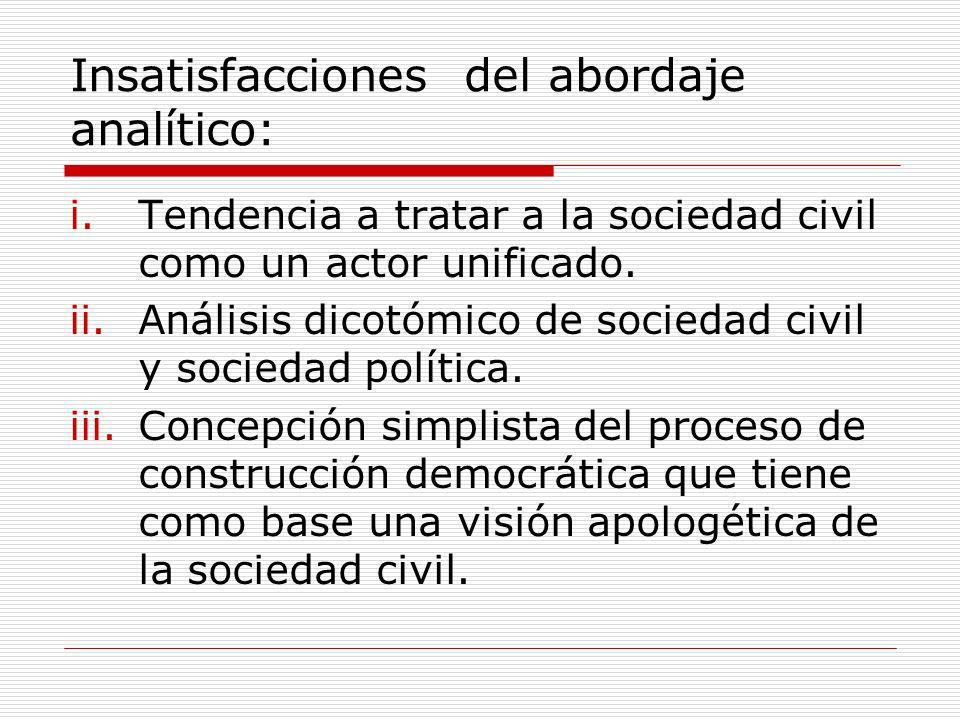 Insatisfacciones del abordaje analítico: