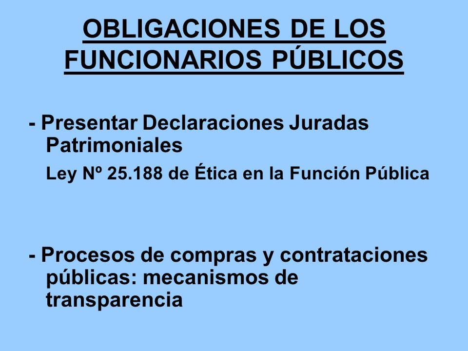 OBLIGACIONES DE LOS FUNCIONARIOS PÚBLICOS