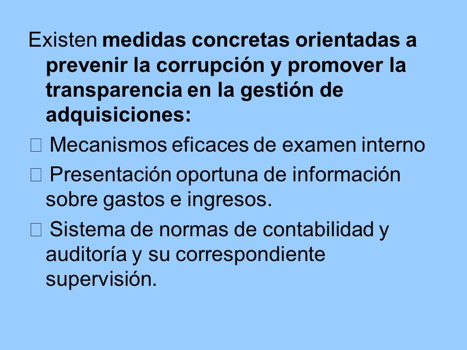 Existen medidas concretas orientadas a prevenir la corrupción y promover la transparencia en la gestión de adquisiciones: