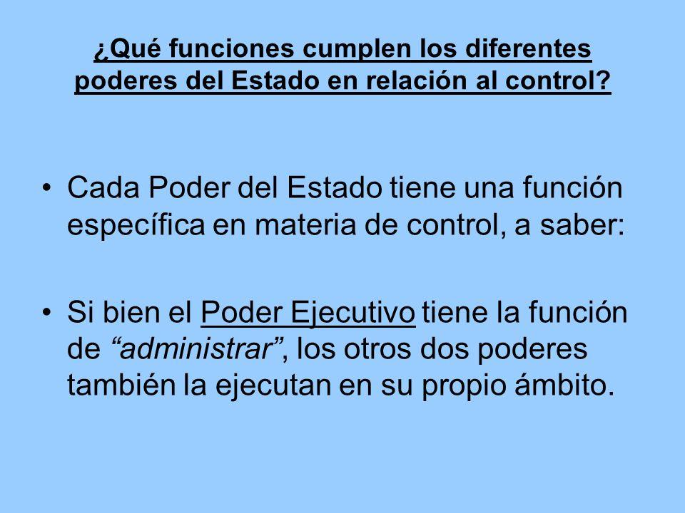 ¿Qué funciones cumplen los diferentes poderes del Estado en relación al control