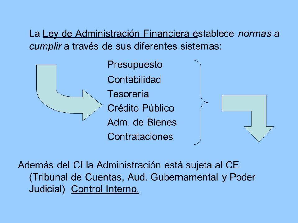 La Ley de Administración Financiera establece normas a cumplir a través de sus diferentes sistemas: