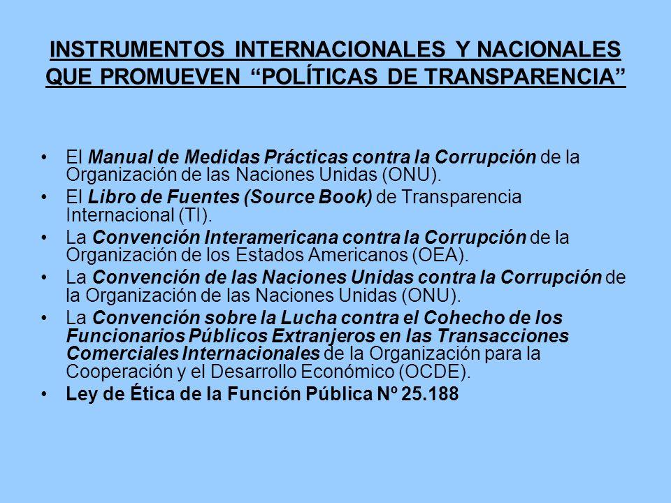 INSTRUMENTOS INTERNACIONALES Y NACIONALES QUE PROMUEVEN POLÍTICAS DE TRANSPARENCIA