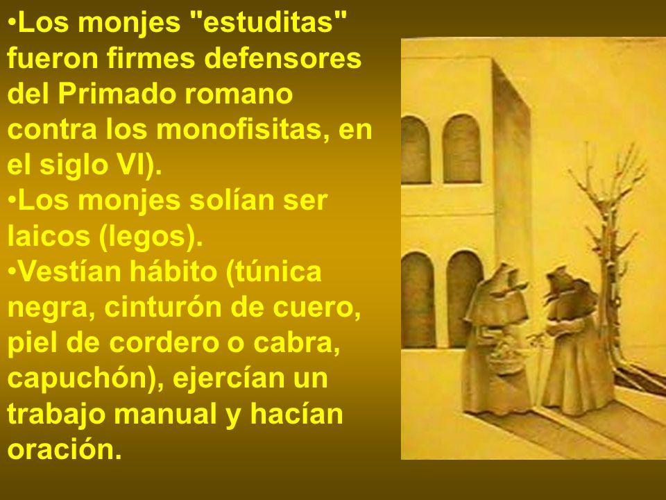 Los monjes estuditas fueron firmes defensores del Primado romano contra los monofisitas, en el siglo VI).
