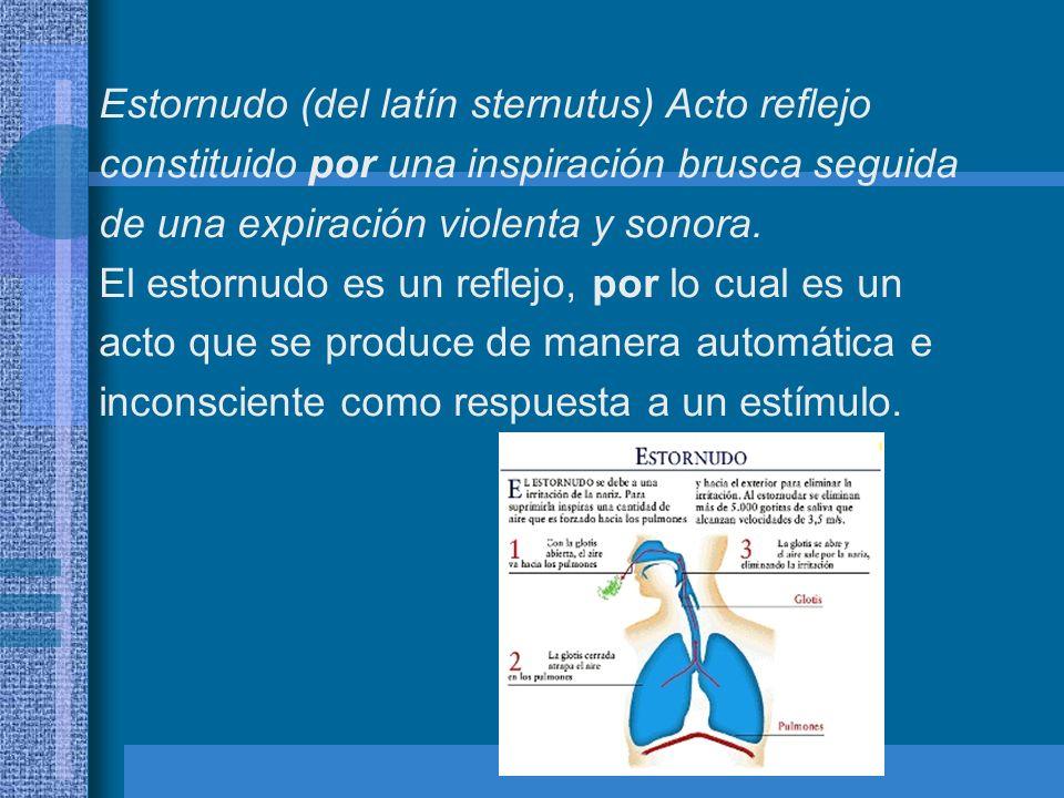 Estornudo (del latín sternutus) Acto reflejo