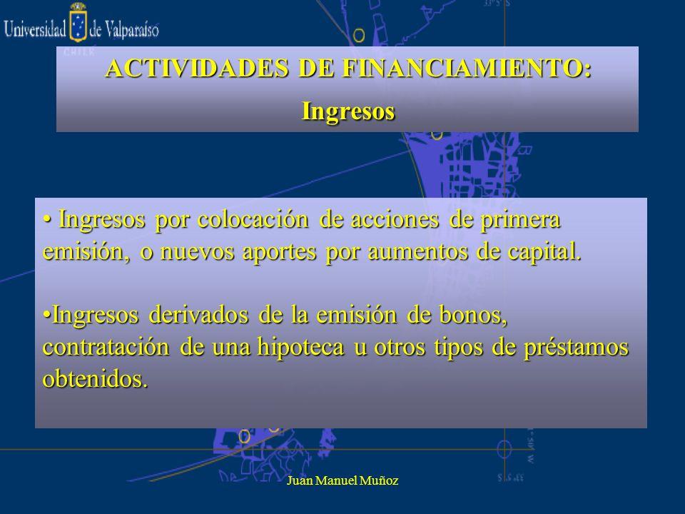 ACTIVIDADES DE FINANCIAMIENTO: Ingresos