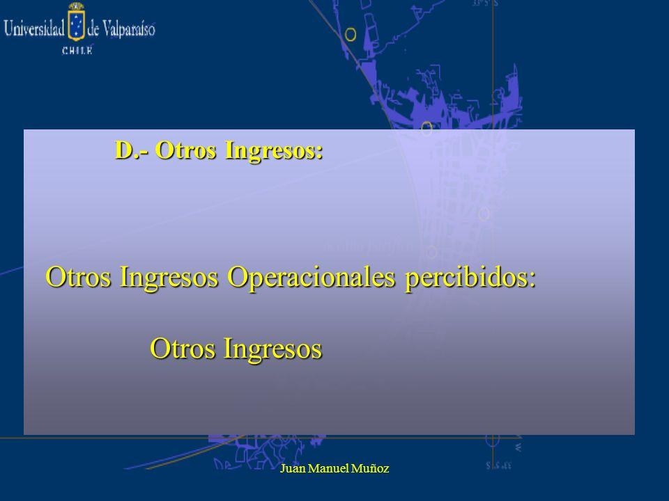 Otros Ingresos Operacionales percibidos: Otros Ingresos