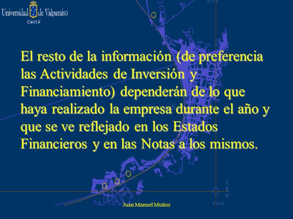 El resto de la información (de preferencia las Actividades de Inversión y Financiamiento) dependerán de lo que haya realizado la empresa durante el año y que se ve reflejado en los Estados Financieros y en las Notas a los mismos.