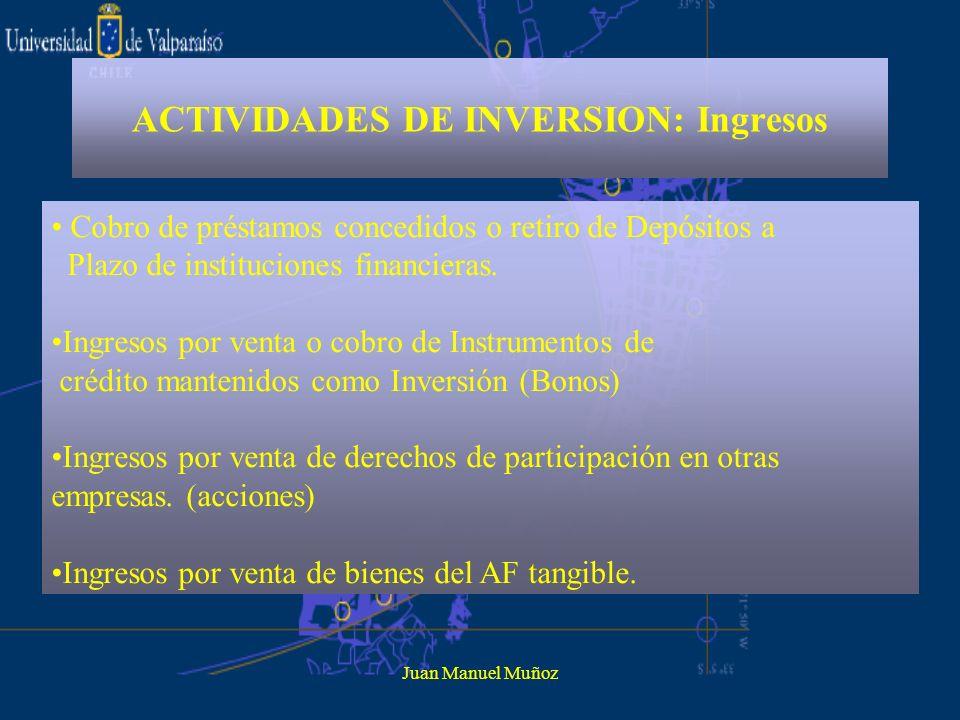 ACTIVIDADES DE INVERSION: Ingresos