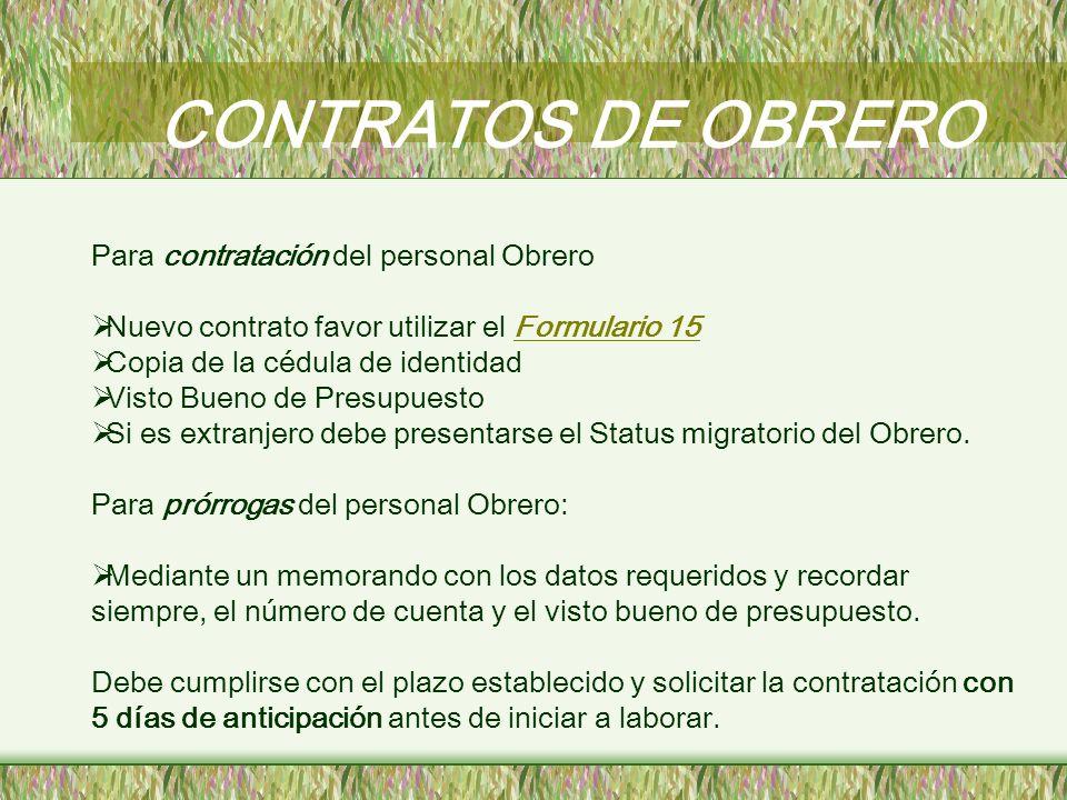 CONTRATOS DE OBRERO Para contratación del personal Obrero