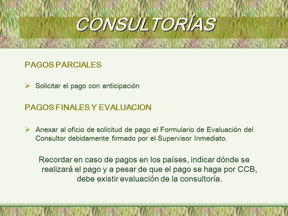 CONSULTORÍAS PAGOS PARCIALES PAGOS FINALES Y EVALUACION