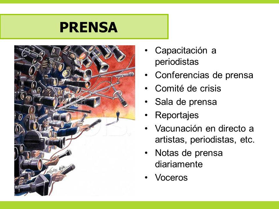 PRENSA Capacitación a periodistas Conferencias de prensa