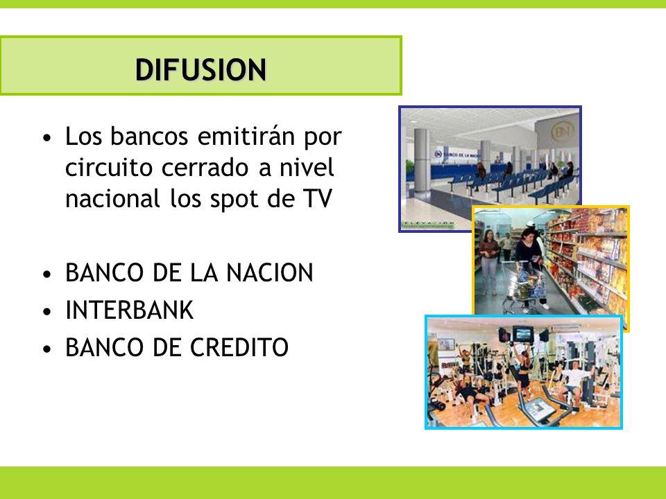 DIFUSION Los bancos emitirán por circuito cerrado a nivel nacional los spot de TV. BANCO DE LA NACION.