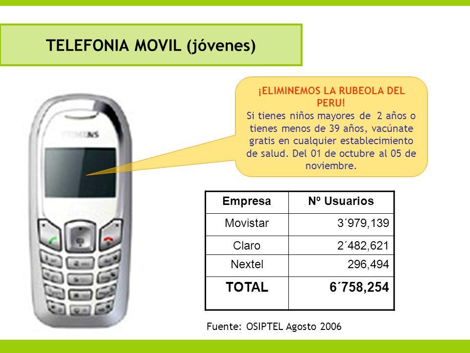 TELEFONIA MOVIL (jóvenes) ¡ELIMINEMOS LA RUBEOLA DEL PERU!