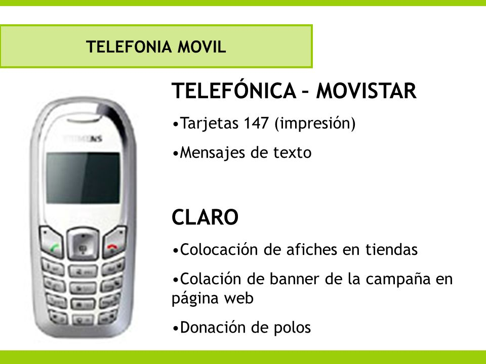 TELEFÓNICA – MOVISTAR CLARO TELEFONIA MOVIL Tarjetas 147 (impresión)