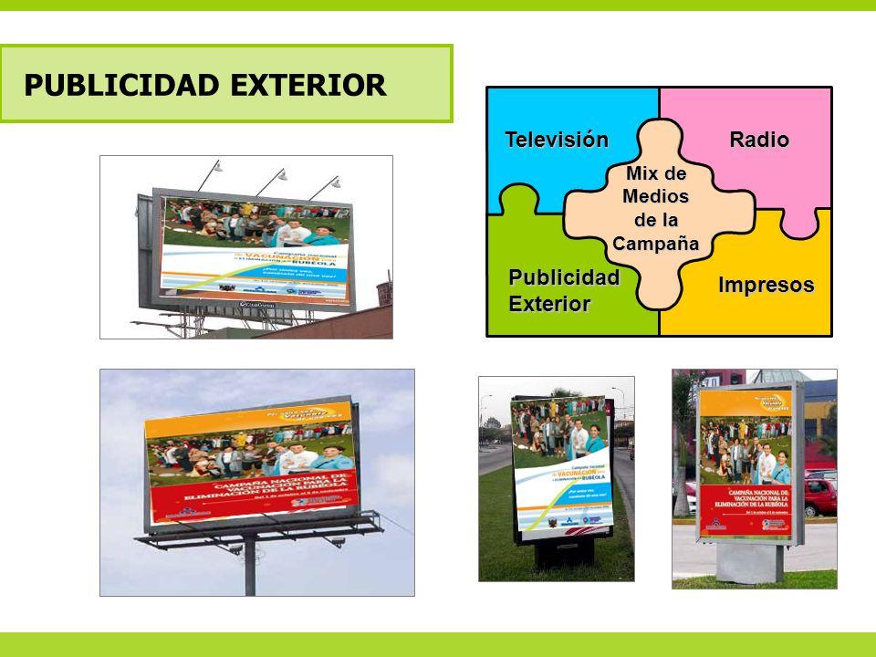 PUBLICIDAD EXTERIOR Televisión Radio Impresos Publicidad Exterior