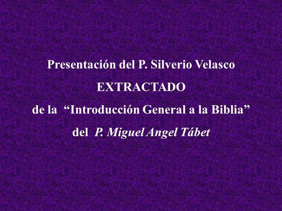 Presentación del P. Silverio Velasco EXTRACTADO