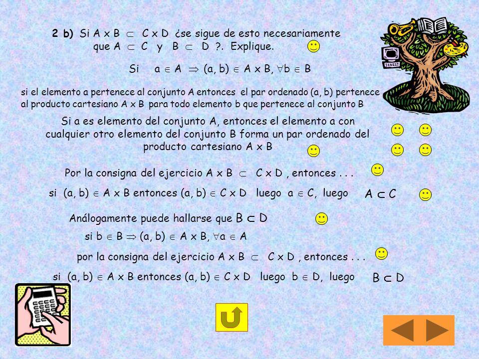 2 b) Si A x B  C x D ¿se sigue de esto necesariamente que A  C y B  D . Explique.