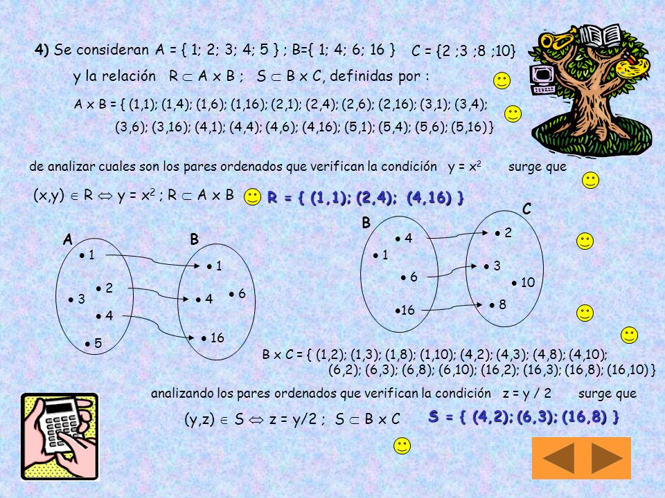 4) Se consideran A = { 1; 2; 3; 4; 5 } ; B={ 1; 4; 6; 16 }