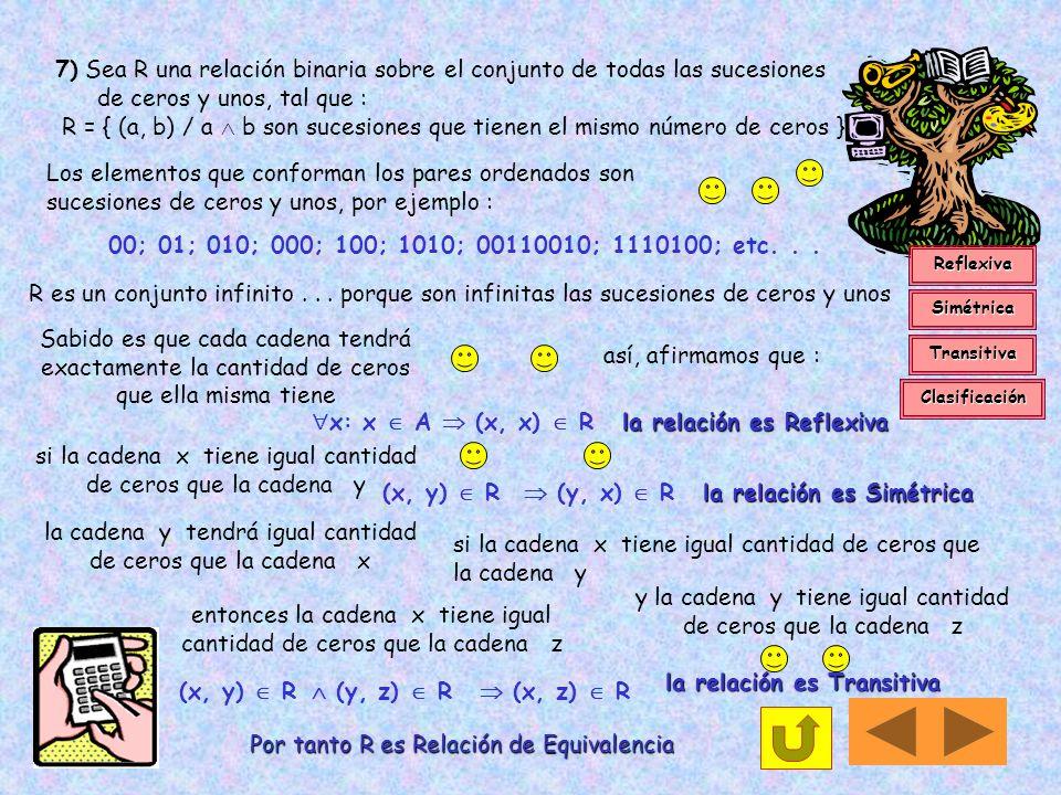 x: x  A  (x, x)  R la relación es Reflexiva