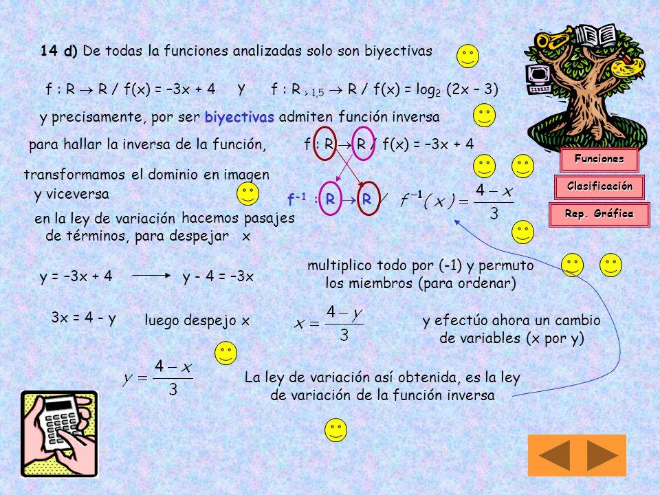 14 d) De todas la funciones analizadas solo son biyectivas