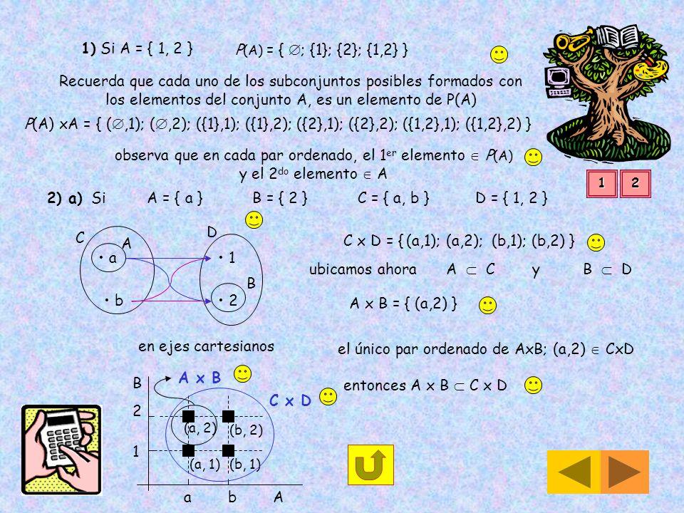 2) a) Si A = { a } B = { 2 } C = { a, b } D = { 1, 2 }