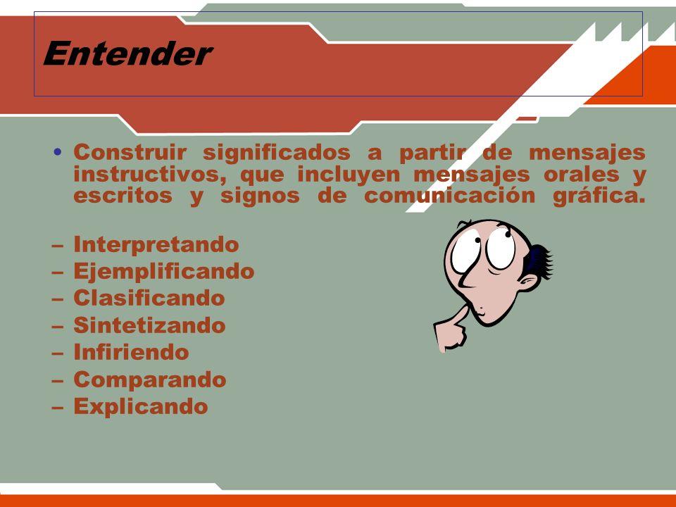 Entender Construir significados a partir de mensajes instructivos, que incluyen mensajes orales y escritos y signos de comunicación gráfica.
