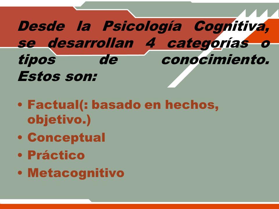 Desde la Psicología Cognitiva, se desarrollan 4 categorías o tipos de conocimiento. Estos son: