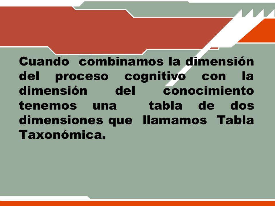 Cuando combinamos la dimensión del proceso cognitivo con la dimensión del conocimiento tenemos una tabla de dos dimensiones que llamamos Tabla Taxonómica.