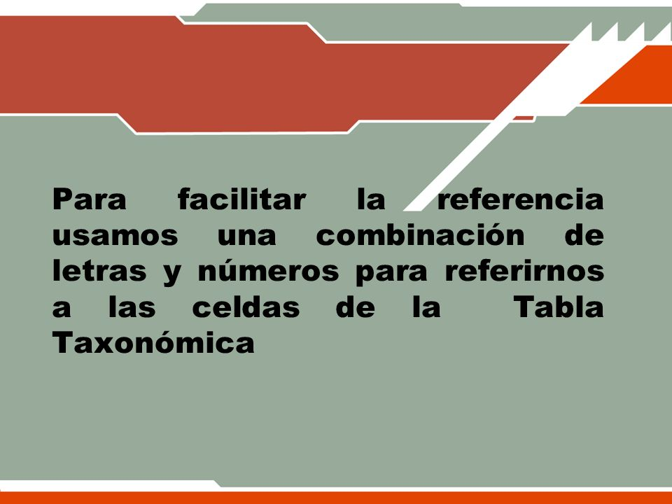 Para facilitar la referencia usamos una combinación de letras y números para referirnos a las celdas de la Tabla Taxonómica