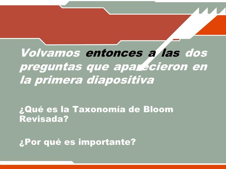 ¿Qué es la Taxonomía de Bloom Revisada ¿Por qué es importante