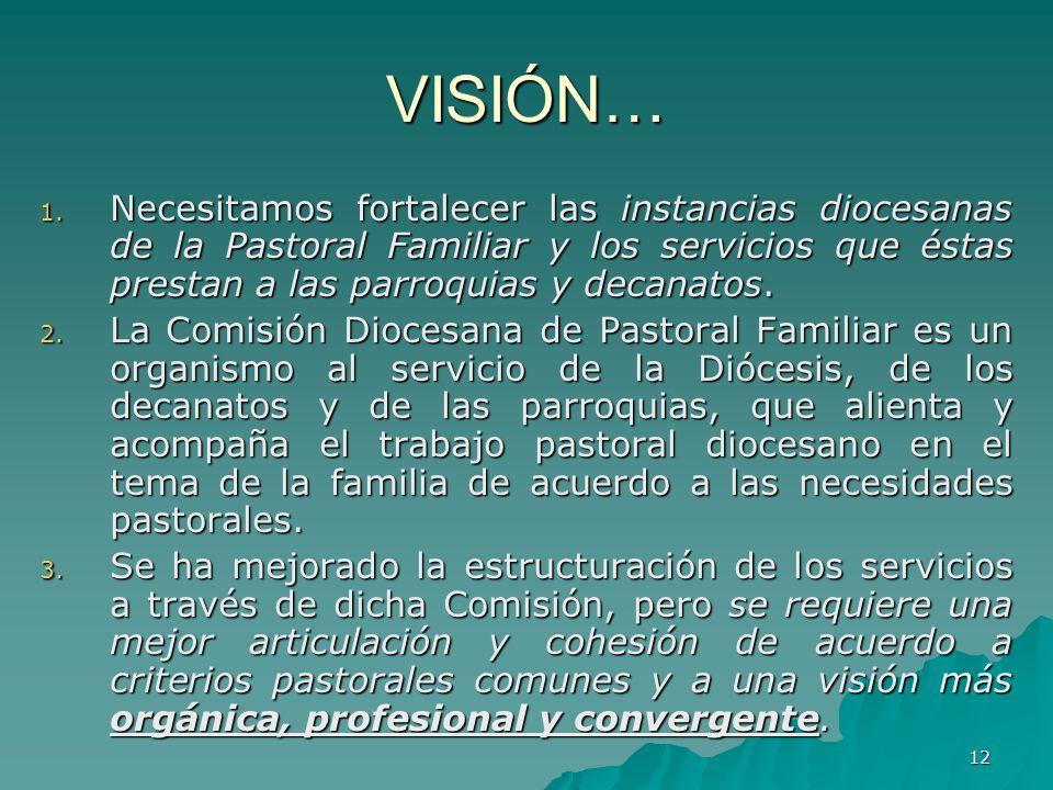 VISIÓN… Necesitamos fortalecer las instancias diocesanas de la Pastoral Familiar y los servicios que éstas prestan a las parroquias y decanatos.