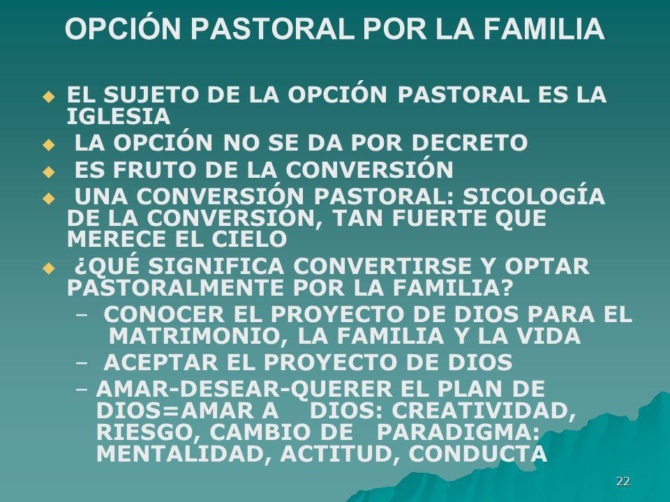 OPCIÓN PASTORAL POR LA FAMILIA