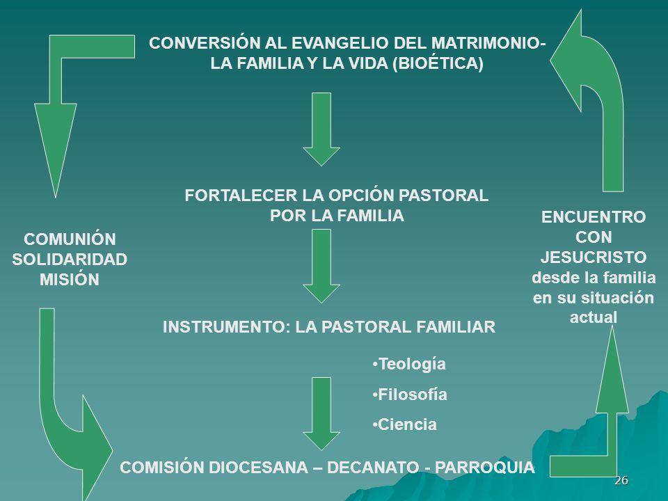 CONVERSIÓN AL EVANGELIO DEL MATRIMONIO-LA FAMILIA Y LA VIDA (BIOÉTICA)