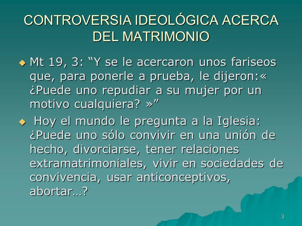 CONTROVERSIA IDEOLÓGICA ACERCA DEL MATRIMONIO