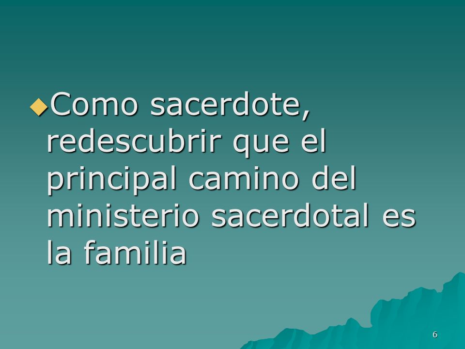 Como sacerdote, redescubrir que el principal camino del ministerio sacerdotal es la familia