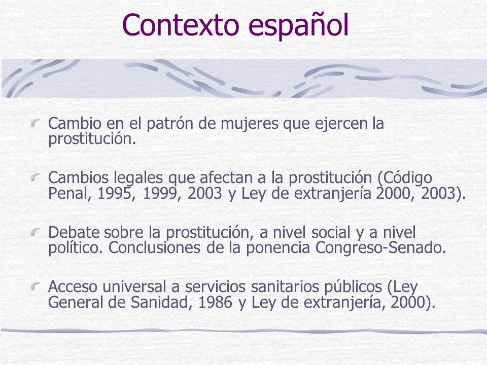Contexto español Cambio en el patrón de mujeres que ejercen la prostitución.