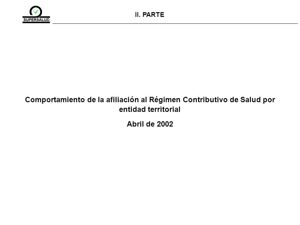II. PARTE Comportamiento de la afiliación al Régimen Contributivo de Salud por entidad territorial.