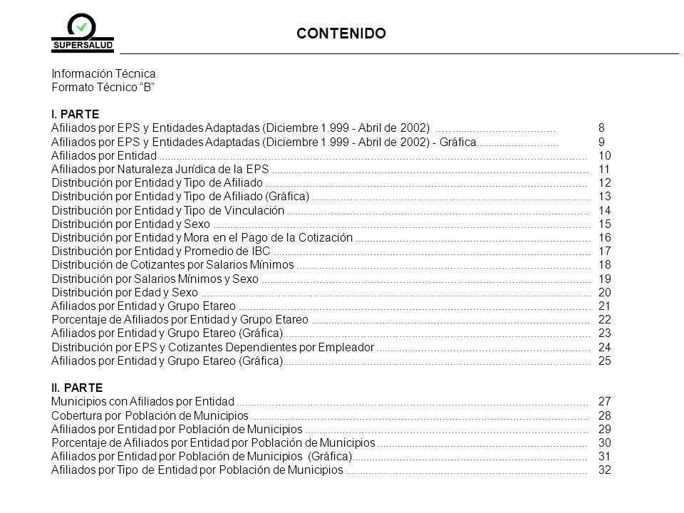 CONTENIDO Información Técnica Formato Técnico B I. PARTE