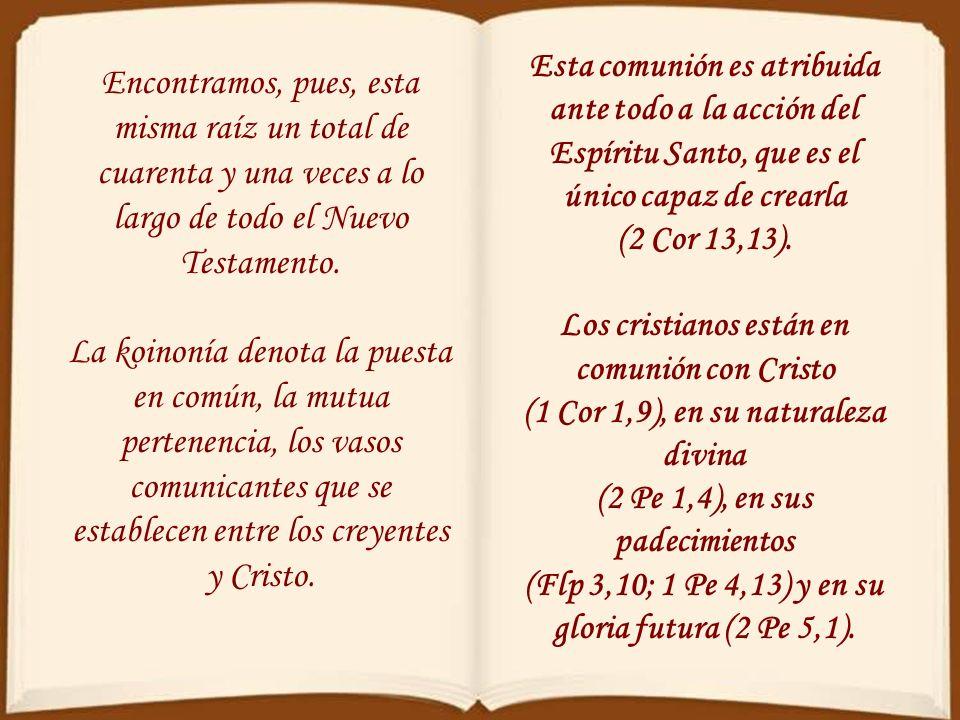 Esta comunión es atribuida ante todo a la acción del Espíritu Santo, que es el único capaz de crearla (2 Cor 13,13).