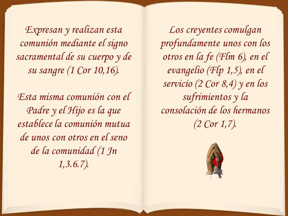Expresan y realizan esta comunión mediante el signo sacramental de su cuerpo y de su sangre (1 Cor 10,16).