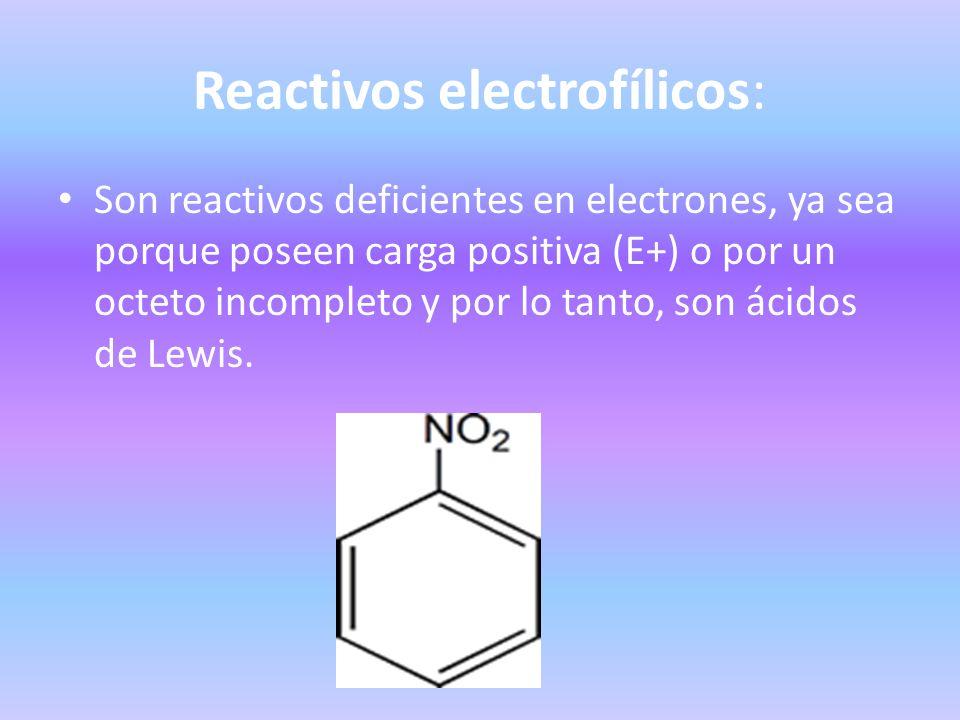 Reactivos electrofílicos: