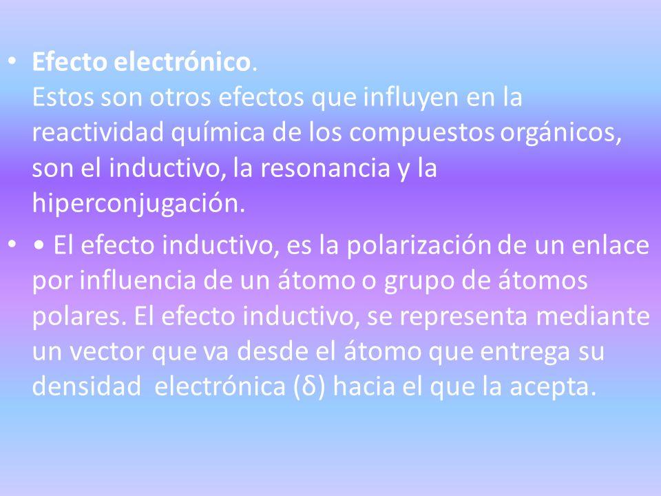 Efecto electrónico. Estos son otros efectos que influyen en la reactividad química de los compuestos orgánicos, son el inductivo, la resonancia y la hiperconjugación.