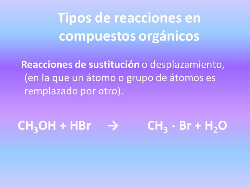 Tipos de reacciones en compuestos orgánicos