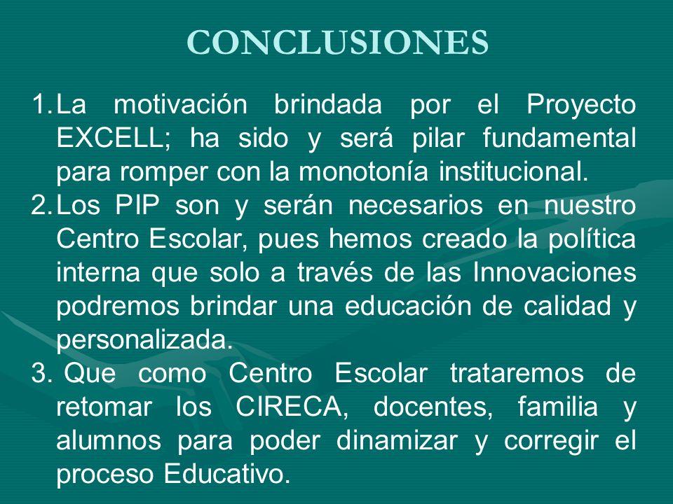CONCLUSIONES La motivación brindada por el Proyecto EXCELL; ha sido y será pilar fundamental para romper con la monotonía institucional.