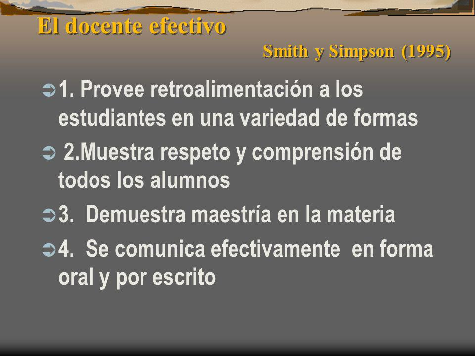 El docente efectivo Smith y Simpson (1995)