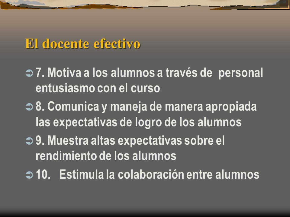 El docente efectivo 7. Motiva a los alumnos a través de personal entusiasmo con el curso.