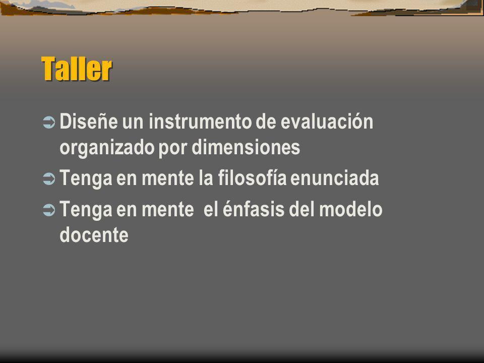 Taller Diseñe un instrumento de evaluación organizado por dimensiones